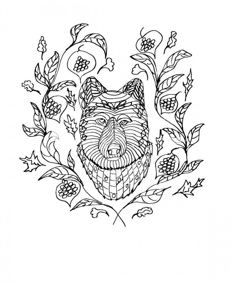 wolf coloring book page